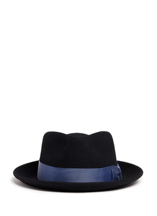 Main View - Click To Enlarge - Sensi Studio - Grosgrain bow wool felt fedora hat