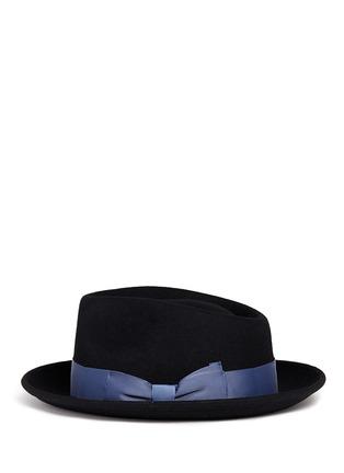 Figure View - Click To Enlarge - Sensi Studio - Grosgrain bow wool felt fedora hat