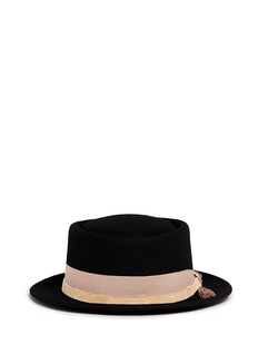 Sensi Studio Leather band frayed bow wool porkpie hat