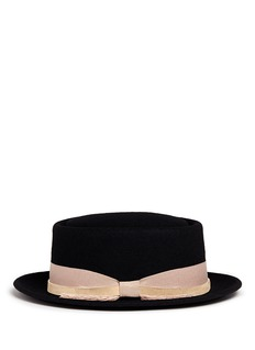 Sensi StudioLeather band frayed bow wool porkpie hat