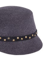 Stud leather band wool felt jockey cap