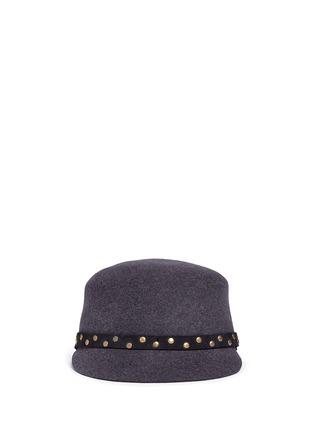 Main View - Click To Enlarge - Sensi Studio - Stud leather band wool felt jockey cap