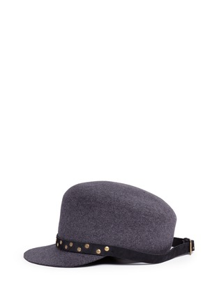 Figure View - Click To Enlarge - Sensi Studio - Stud leather band wool felt jockey cap
