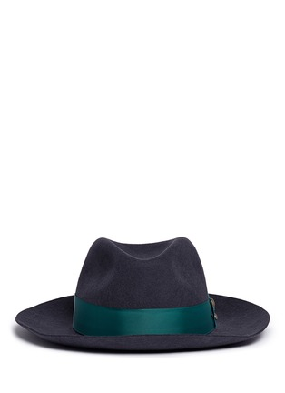Main View - Click To Enlarge - Sensi Studio - 'Sarah' stud grosgrain bow wool felt fedora hat