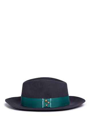 Figure View - Click To Enlarge - Sensi Studio - 'Sarah' stud grosgrain bow wool felt fedora hat