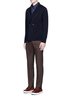 ISAIA'Como' floral print cotton herringbone shirt