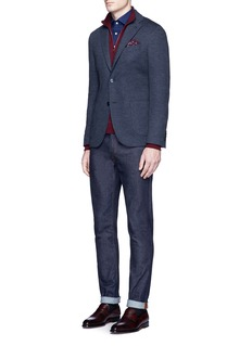 ISAIA Windowpane check mock neck sweater