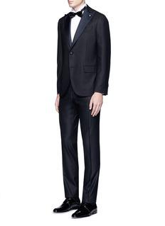 LardiniDiamond jacquard lapel wool tuxedo suit
