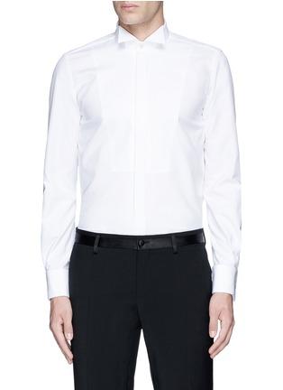 Main View - Click To Enlarge - Lardini - Slim fit wingtip collar cotton piqué tuxedo shirt