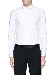 Lardini Slim fit wingtip collar cotton piqué tuxedo shirt