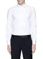Slim fit wingtip collar cotton piqué tuxedo shirt