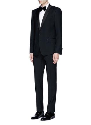 Lardini-Slim fit wingtip collar cotton piqué tuxedo shirt