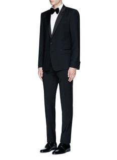 LardiniSlim fit wingtip collar cotton piqué tuxedo shirt
