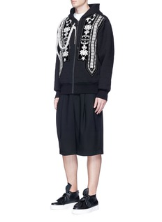 Ports 1961 Rope embellished and star topstitch zip hoodie
