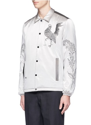 Front View - Click To Enlarge - Saam1 - 3M reflective rooster embroidered padded coach jacket
