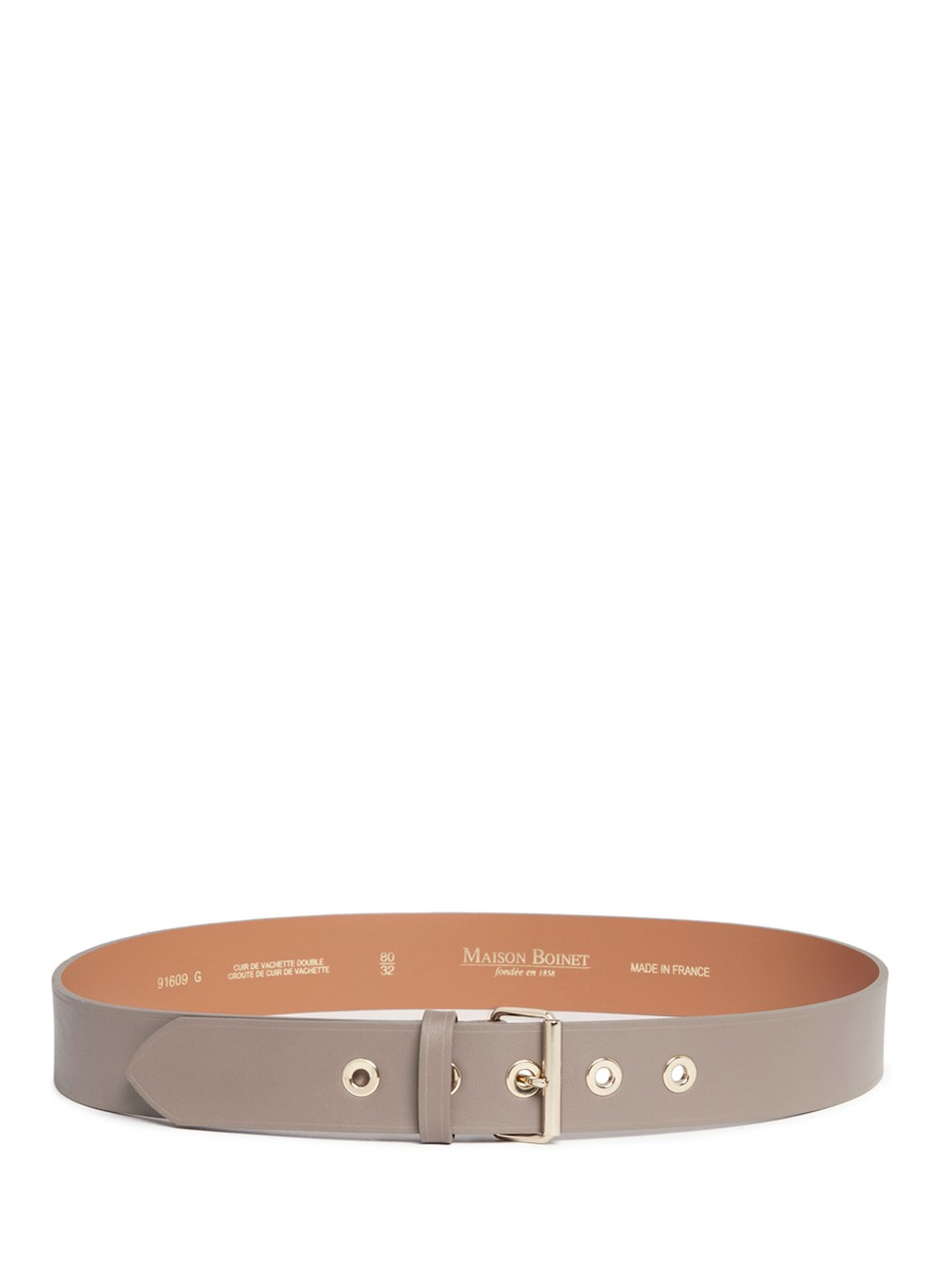 Metal eyelet cowhide leather belt by Maison Boinet
