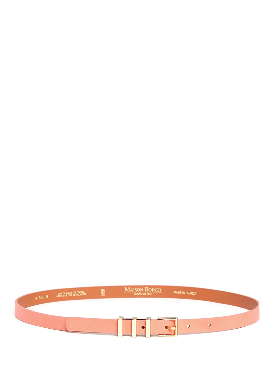 Triple loop cowhide leather belt by Maison Boinet