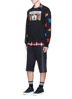 Haculla'Tecknikcolor' vintage print floral appliqué sweatshirt