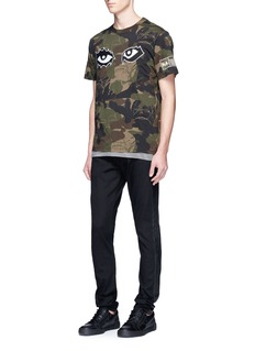 Haculla 'You See Nothing' eye embroidered camouflage print T-shirt
