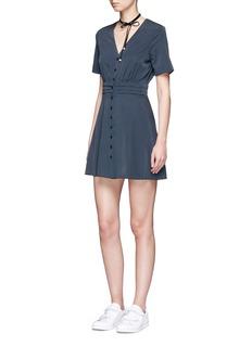 TopshopPolka dot pleat waist crepe tea dress