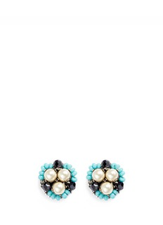 Miriam Haskell Swarovski crystal glass pearl stud earrings