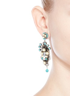 Miriam HaskellGlass pearl Swarovski crystal drop earrings