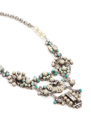Detail View - Click To Enlarge - Miriam Haskell - Glass pearl Swarovski crystal turquoise bead statement necklace