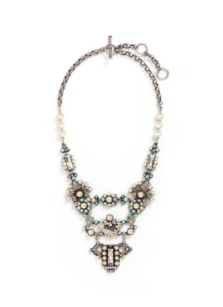 Main View - Click To Enlarge - Miriam Haskell - Glass pearl Swarovski crystal turquoise bead statement necklace