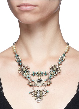Figure View - Click To Enlarge - Miriam Haskell - Glass pearl Swarovski crystal turquoise bead statement necklace