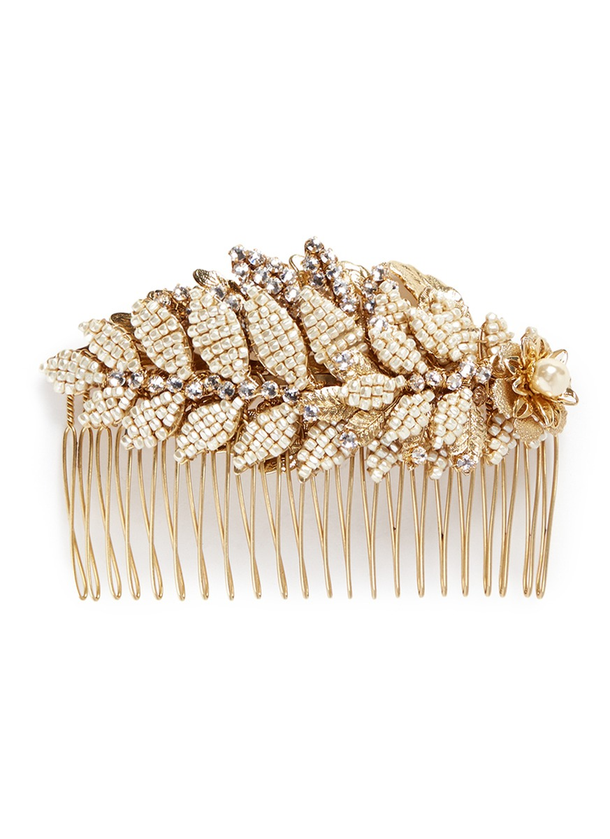 Baroque pearl layered leaf hair comb by Miriam Haskell