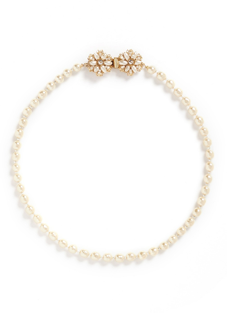 Filigree floral clasp Baroque pearl necklace by Miriam Haskell