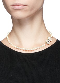 Miriam Haskell Filigree floral clasp Baroque pearl necklace