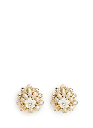 Main View - Click To Enlarge - Miriam Haskell - Layered filigree floral pearl crystal stud earrings