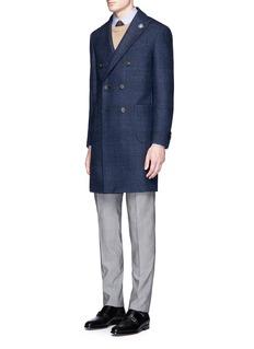 LardiniCheck plaid double breasted coat