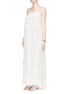 LILA.EUGENIEMacramé lace cotton-silk maxi dress