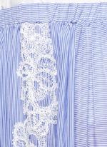 Lace trim pinstripe cotton-silk maxi skirt