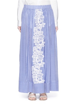 Main View - Click To Enlarge - Lila.Eugenie - Lace trim pinstripe cotton-silk maxi skirt