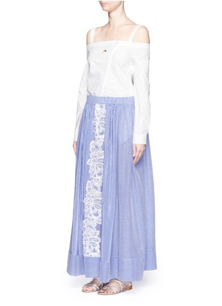Figure View - Click To Enlarge - Lila.Eugenie - Lace trim pinstripe cotton-silk maxi skirt