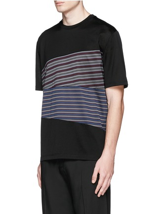 Front View - Click To Enlarge - Lanvin - Stripe panel T-shirt