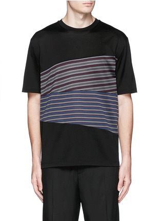 Main View - Click To Enlarge - Lanvin - Stripe panel T-shirt