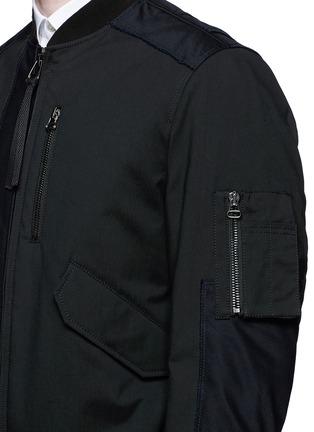 细节 - 点击放大 - LANVIN - 牛皮拼接夹棉棒球夹克