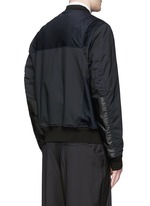 Leather patch padded bomber jacket