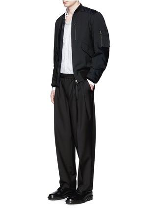 模特儿示范图 - 点击放大 - LANVIN - 牛皮拼接夹棉棒球夹克