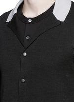Contrast panel wool-silk cardigan