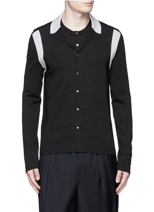 Main View - Click To Enlarge - Lanvin - Contrast panel wool-silk cardigan