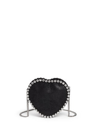 Back View - Click To Enlarge - Stella McCartney - 'Falabella' strass heart shape crossbody bag