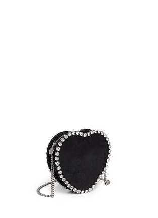 Front View - Click To Enlarge - Stella McCartney - 'Falabella' strass heart shape crossbody bag