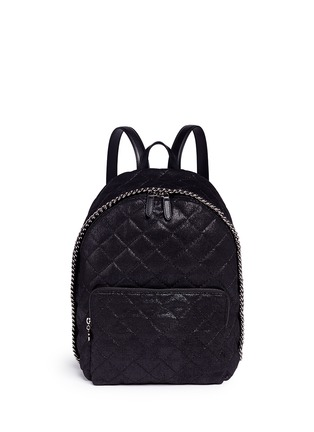 Main View - Click To Enlarge - Stella McCartney - 'Falabella' quilted shaggy deer chain backpack