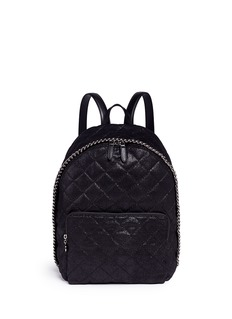 Stella McCartney 'Falabella' quilted shaggy deer chain backpack