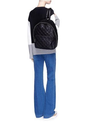 Figure View - Click To Enlarge - Stella McCartney - 'Falabella' quilted shaggy deer chain backpack